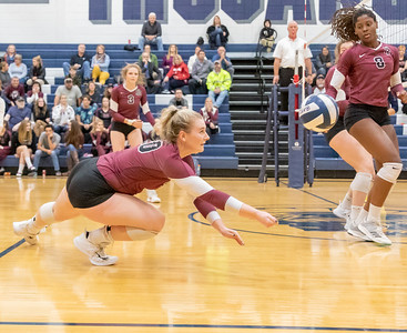 Prairie Ridge's Jayden Otto makes a diving save against Cary-Grove Thursday, October 18, 2018 in Carry. Prairie ridge wins the match in two straight sets and clinches the Fox Valley Conference title.  KKoontz – For Shaw Media