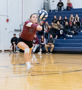 Prairie Ridge's Olivia Annen digs out a serve against Cary-Grove Thursday, October 18, 2018 in Carry. Prairie ridge wins the match in two straight sets and clinches the Fox Valley Conference title.  KKoontz – For Shaw Media