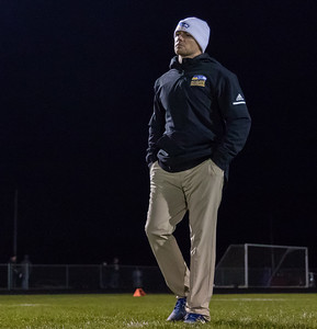 Johnsburg Head Football Coach Sam Lesniak prepares his team for the game against rival Richmond-Burton Friday, October 19, 2018 in Richmond. Richmond went on to win 31-21. KKoontz – For Shaw Media