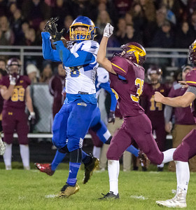 Johnsburg receiver Austin Lichtenstein makes a catch against Richmond-Burton Friday, October 19, 2018 in Richmond. Richmond went on to win 31-21.  KKoontz – For Shaw Media