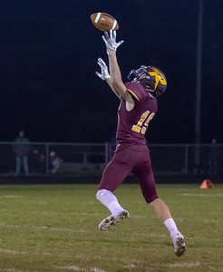 Richmond-Burton receiver Logan Hutson makes a catch against Johnsburg Friday, October 19, 2018 in Richmond. Richmond gets the win over the Skyhawks 31-21. KKoontz – For Shaw Media