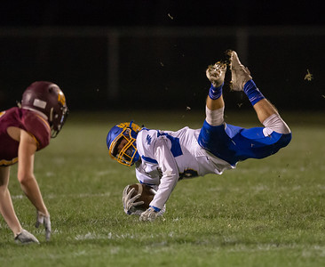 Johnsburg receiver Gibson Groves makes a catch against Richmond Friday, October 19, 2018 in Richmond. Richmond went on to win 31-21.  KKoontz – For Shaw Media