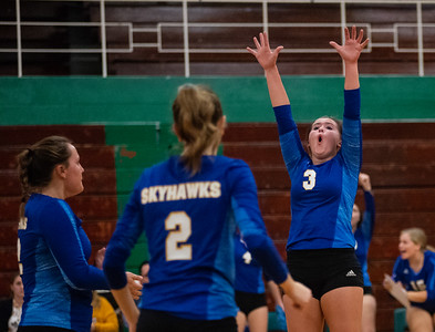 Randy Stukenberg - For Shaw Media  Johnsburg's Adisyn Illg, 3, celebrates a point during the second game of the semifinal match of the Class 3A Boylan Regional on Tuesday, Oct. 23, 2018. Woodstock won the match 25-18, 28-26.