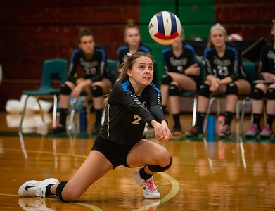 Randy Stukenberg - For Shaw Media  Woodstock's Madelyn Hughes bumps a Johnsburg serve late in the first game of the semifinal match of the Class 3A Boylan Regional on Tuesday, Oct. 23, 2018. Woodstock won the match 25-18, 28-26.