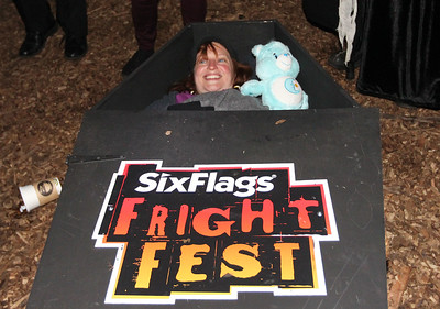 Candace H. Johnson-For Shaw Media Allison Jornlin, of Milwaukee, Wis., a paranormal investigator, lays in a coffin during the 30 Hour Coffin Challenge for Fright Fest at Six Flags Great America in Gurnee. Six winners, including Jornlin, received $300, two 2019 Gold season passes to Great America, two Express Haunted House wrist bands, their  coffin and a chance to be in the Uprising Parade. (10/21/18)