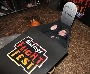 Candace H. Johnson-For Shaw Media Lynn Johansen, of Franklin Park, a 70-year-old grandmother who is a member of the Hardcore Hearse Club, lays in a coffin during the 30 Hour Coffin Challenge for Fright Fest at Six Flags Great America in Gurnee. Six winners, including Johansen, received $300, two 2019 Gold season passes to Great America, two Express Haunted House wrist bands, their coffin and a chance to be in the Uprising Parade. (10/21/18)