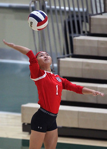Candace H. Johnson-For Shaw Media Grant's Laurice Lavajo serves against Lake Zurich in the second set during the regional play-in game at Stevenson High School in Lincolnshire. Lake Zurich won 25-9, 25-20.