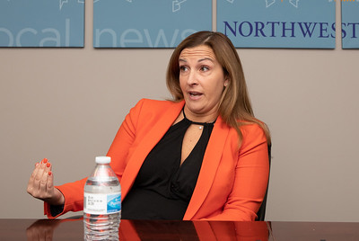 Trisha Zubert, 64th Senate District Democrat candidate, speaks with the Northwest Herald editorial board at the newspaper office Thursday, October 25, 2018 in Crystal Lake.  KKoontz- For Shaw Media