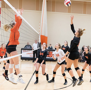 Crystal Lake Central's Madelyn Blake goes up for the ball against Libertyville Thursday, October 25, 2018 at the Class 4A Regional finals match in Libertyville. Crystal Lake Central wins their fourth straight regional championship in two-straight sets. KKoontz – For Shaw Media