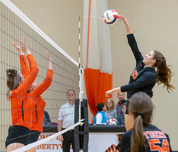 Crystal Lake Central's Camryn Hausler spikes the ball against Libertyville Thursday, October 25, 2018 at the Class 4A Regional finals match in Libertyville. Crystal Lake Central wins their fourth straight regional championship in two-straight sets. KKoontz – For Shaw Media