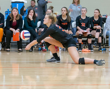 Crystal Lake Central's Madelyn Blake digs out a serve against Libertyville Thursday, October 25, 2018 at the Class 4A Regional finals match in Libertyville. Crystal Lake Central wins their fourth straight regional championship in two-straight sets. KKoontz – For Shaw Media