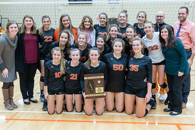 Crystal Lake Central volleyball team poses for a photo after winning their fourth straight Class 4A final Regional match in two straight sets against Libertyville Thursday, October 25, 2018 in Libertyville. KKoontz – For Shaw Media