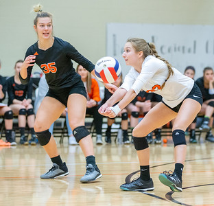 Crystal Lake Central's Karina Simatos digs out a serve against Libertyville Thursday, October 25, 2018 at the Class 4A Regional finals match in Libertyville. Crystal Lake Central wins their fourth straight regional championship in two-straight sets. KKoontz – For Shaw Media