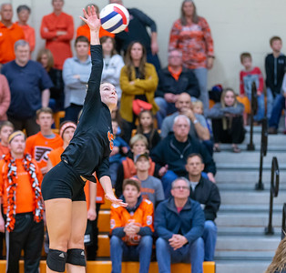 Crystal Lake Central's Madelyn Blake goes up for a spike against Libertyville Thursday, October 25, 2018 at the Class 4A Regional finals match in Libertyville. Crystal Lake Central wins their fourth straight regional championship in two-straight sets. KKoontz – For Shaw Media