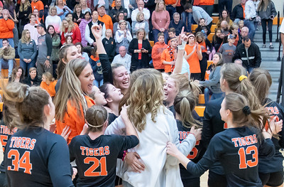 Crystal Lake Central's volleyball team celebrates their two straight set victory over Libertyville and winning the Class 4A regional title Thursday, October 25, 2018 in Libertyville. KKoontz – For Shaw Media