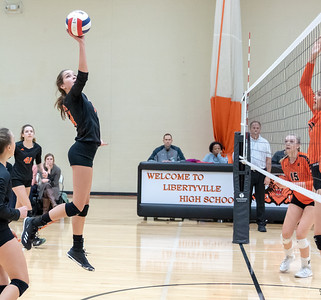 Crystal Lake Central's Lauren Klutke goes up for the ball against Libertyville Thursday, October 25, 2018 at the Class 4A Regional finals match in Libertyville. Crystal Lake Central wins their fourth straight regional championship in two-straight sets. KKoontz – For Shaw Media