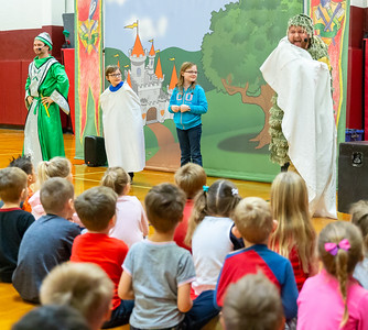 Ian Barculaus (third grade) and Brooklyn (third grade) volunteer for a school play at Richmond Grade school Friday, October 26, 2018 in Richmond. The play, hoste by Delta Dental promotes proper oral hygiene and eating habits. KKoontz – For Shaw Media