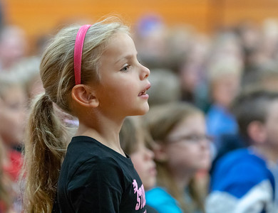 Second grader Vanessa Sorenson from Richmond Grade School pays close attention to a school play Friday, October 26, 2018 in Richmond. The play, hosted by Delta Dental, promotes proper oral hygiene and eating habits. KKoontz – For Shaw Media