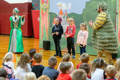 Rylinn Tonyan (3rd grade), Evan Carlson (1ST grade), and Paitynn Sitter (kindergarten) volunteer for a school play at Richmond Grade school Friday, October 26, 2018 in Richmond. The play, provided by Delta Dental promotes proper oral hygiene and eating habits. KKoontz – For Shaw Media