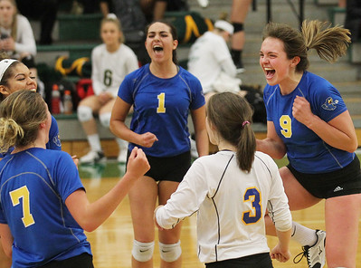 Candace H. Johnson-For Shaw Media Warren's volleyball players celebrate a point against Prairie Ridge during the Class 4A sectional semifinal game at Grayslake Central. Prairie Ridge won 25-15, 25-14. (10/29/18)
