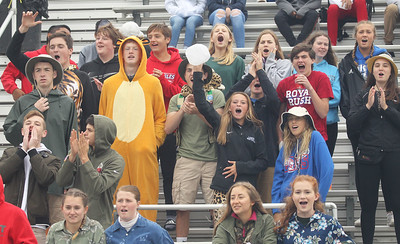 Candace H. Johnson-For Shaw Media Lakes superfans dressed in a safari theme cheer on their varsity football team as they play against Wauconda at Lakes Community High School in Lake Villa. Lakes won 33-7. (9/28/19)