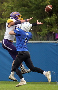Candace H. Johnson-For Shaw Media Wauconda's Michael Olsen reaches for a pass against Lakes James Klem in the third quarter during the homecoming game at Lakes Community High School in Lake Villa. Lakes won 33-7. (9/28/19)