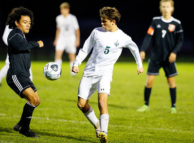 Crystal Lake South Brandon Ostenberg (5) handles the ball against Crystal Lake Central on Tuesday, October 8, 2019, at Crystal Lake Central High School in Crystal Lake, Ill. The Crystal Lake South Gators defeated the Crystal Lake Central Tigers 3-1.