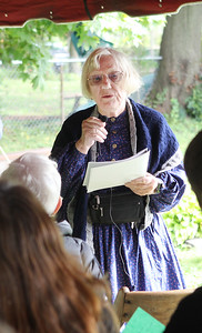 Candace H. Johnson-For Shaw Media Charlotte Renehan, of Grayslake, president of the Grayslake Historical Society, talks to the crowd about the 22nd annual Living History Tour at the Grayslake Cemetery. The tour was presented by the Grayslake Historical Society. (10/6/19)