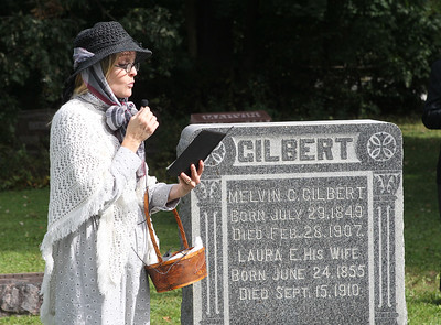 Candace H. Johnson-For Shaw Media Virginia Fitzgerald, of Grayslake portrays Laura Harvey Gilbert (1855-1910) as she stands close to her grave to talk about her husband, Melvin's, death by suicide as reported in a local newspaper during the 22nd annual Living History Tour of the Grayslake Cemetery. The tour was presented by the Grayslake Historical Society. (10/6/19)