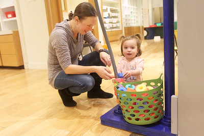 Candace H. Johnson-For Shaw Media Elizabeth Berube, of Grayslake plays with her daughter, Samantha, 2, at the Busy Brains Children's Museum Pop Up Museum at Hawthorn Mall in Vernon Hills. The Pop Up Museum will be at Hawthorn Mall until January 5th, 2020. (10/12/19)