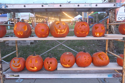 Candace H. Johnson-For Shaw Media Pumpkins carved during the Fox Lake Pumpkin Jubilee line up along Community Garden Green in Fox Lake. (10/12/19)