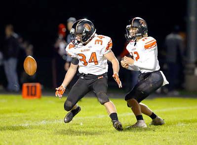McHenry's Brody Hallin fumbles the handoff during their week 8 football game at Crystal Lake Central High School on Friday, Oct. 18, 2019, in Crystal Lake.