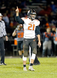 McHenry's Daniel Hallaert signals a first down during their week 8 football game at Crystal Lake Central High School  on Friday, Oct. 18, 2019, in Crystal Lake.