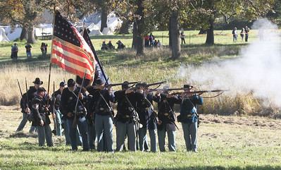 Candace H. Johnson-For Shaw Media Union soldiers fired their muskets against the Confederates in the Battle of Atlanta during Hainesville's annual Civil War Encampment & Battle at the Northbrook Sports Club in Hainesville. (10/20/19)