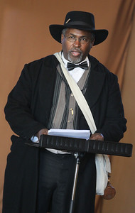 Candace H. Johnson-For Shaw Media Daniel J. Johnson, of Hainesville portrays Thomas Morris Chester, the only black reporter for a major newspaper during the Civil War, during Hainesville's annual Civil War Encampment & Battle at the Northbrook Sports Club in Hainesville. (10/20/19)