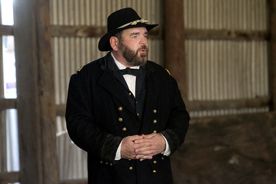 "Candace H. Johnson-For Shaw Media Wayne Issleb, of Kenosha, Wis., portrays General Ulysses S. Grant as he gives his presentation, ""Rise of a General,"" during Hainesville's annual Civil War Encampment & Battle at the Northbrook Sports Club in Hainesville. (10/20/19)"