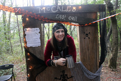 Candace H. Johnson-For Shaw Media Amy RuBert, of Lake Villa, dressed as a pirate, waits to see visitors as they walk through the Haunted Trail during the Haunted Trail and Bonfire at Forest View Park in Lindenhurst. The event was hosted by the Lindenhurst Park District. (10/19/19)