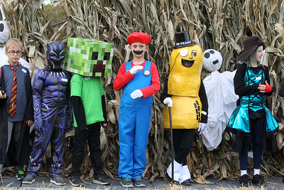 Candace H. Johnson-For Shaw Media Fletcher Denz, 7, of Gurnee (center) shows off his Mario costume with other children six-to-eight years old for the Costume Contest during the Haunted Trail and Bonfire at Forest View Park in Lindenhurst. The event was hosted by the Lindenhurst Park District. (10/19/19)