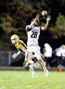Crystal Lake Central's Jake White completes a reception against Jacobs during their week 9 football game at Jacobs High School on Friday, Oct.  25, 2019 in Algonquin.