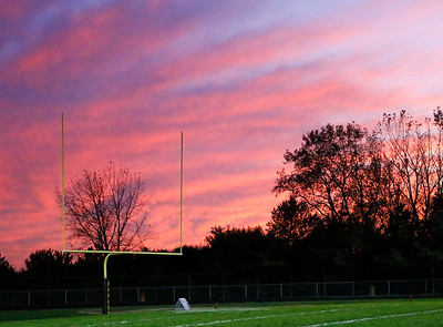 The sun sets at Jacobs High School as the Crystal Lake Central Tigers defeated the Jacobs High School Golden Eagles 45-24 on Friday, October 25, 2019.