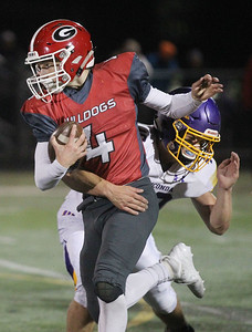 Candace H. Johnson-For Shaw Media Grant's John Bolton is tackled by Wauconda's Matthew Leazer in the first quarter at Grant Community High School in Fox Lake. Wauconda won 19-6. (10/26/19)
