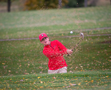 Ottowa's Jonathon Cooper hits out of a bunker on hole No. 6 in the Class 2A Freeport Sectional golf tournament on Monday, Oct. 12, 2020.