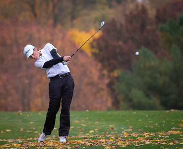 Crystal Lake South golfer Will Stewart hits an approach shot off the fourth fairway in the Class 2A Freeport Sectional golf tournament on Monday, Oct. 12, 2020.