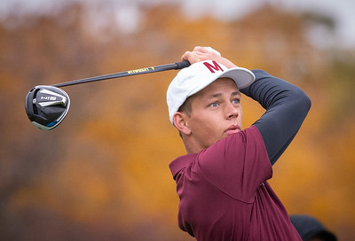 Morris Golfer Matt Lawton hits off the first tee in the Class 2A Freeport Sectional golf tournament on Monday, Oct. 12, 2020.