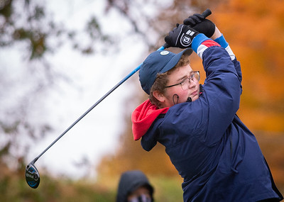 Marian Central Catholic's Owen Jager hits off the first tee in the Class 2A Freeport Sectional golf tournament on Monday, Oct. 12, 2020.