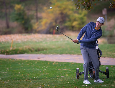 Carmel's Clint Bailes hits off the fourth fairway in the Class 2A Freeport Sectional golf tournament on Monday, Oct. 12, 2020.