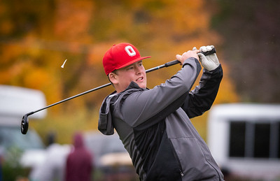 Ottowa's Nick Angus hits off the first tee in the Class 2A Freeport Sectional golf tournament on Monday, Oct. 12, 2020.