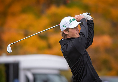 Crystal Lake South golfer Will Stewart tees off the first hole in the Class 2A Freeport Sectional golf tournament on Monday, Oct. 12, 2020.