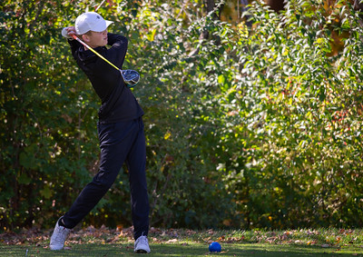 DeKalb's Danny Franzene tees off of hole No. 14 in the Class 3A Rockford Sectional golf tournament on Thursday, Oct. 15, 2020. Randy Stukenberg for Shaw Media