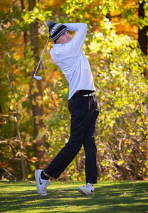 Huntley's Danny Sheedy tees off of hole No. 11 in the Class 3A Rockford Sectional golf tournament on Thursday, Oct. 15, 2020. Randy Stukenberg for Shaw Media